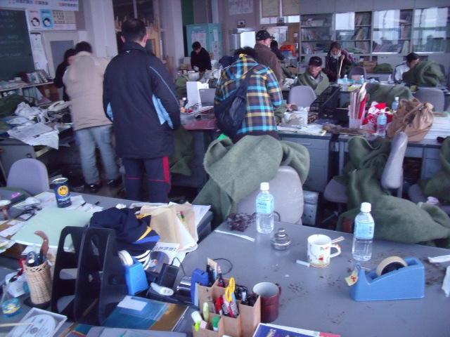 2011年3月12日の中野小学校職員室
