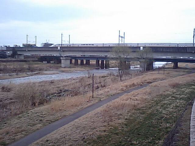 東北新幹線広瀬川橋梁上で止まったままのMaxやまびこ